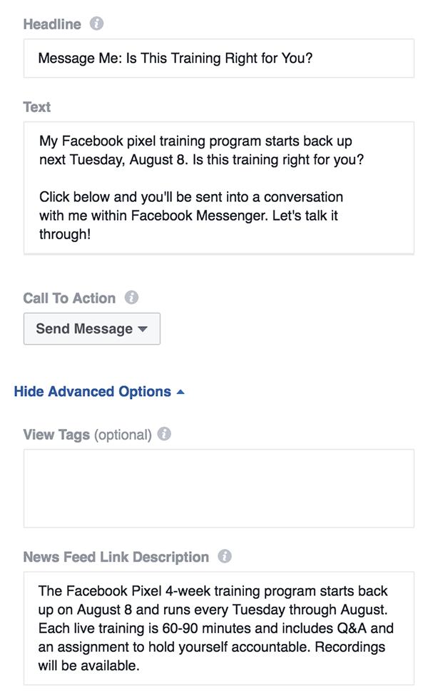 hablando digital, anuncios, facebook, messenger