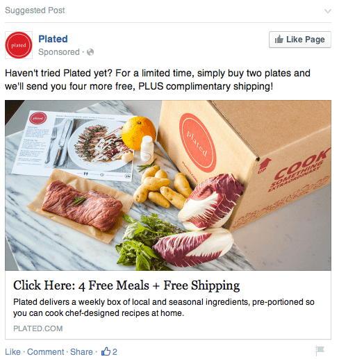 anuncio en facebook ofreciendo algo gratis