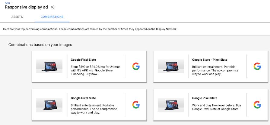 Anuncios responsivos en la red de display de Google. Combinaciones