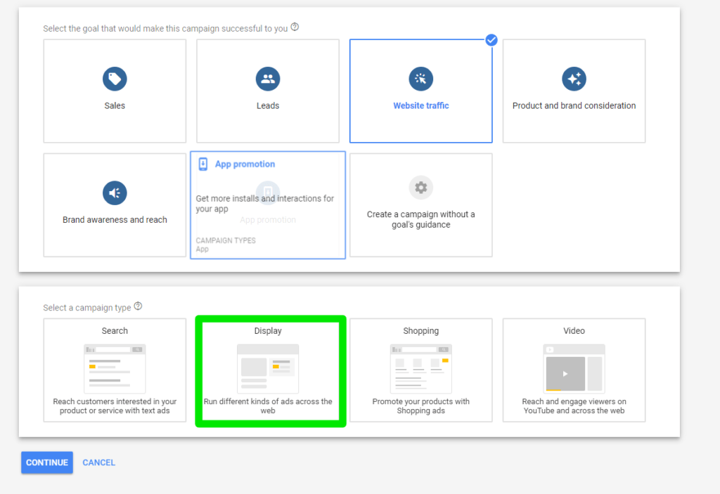 Anuncios responsivos en Google. Tipo de campaña Display.