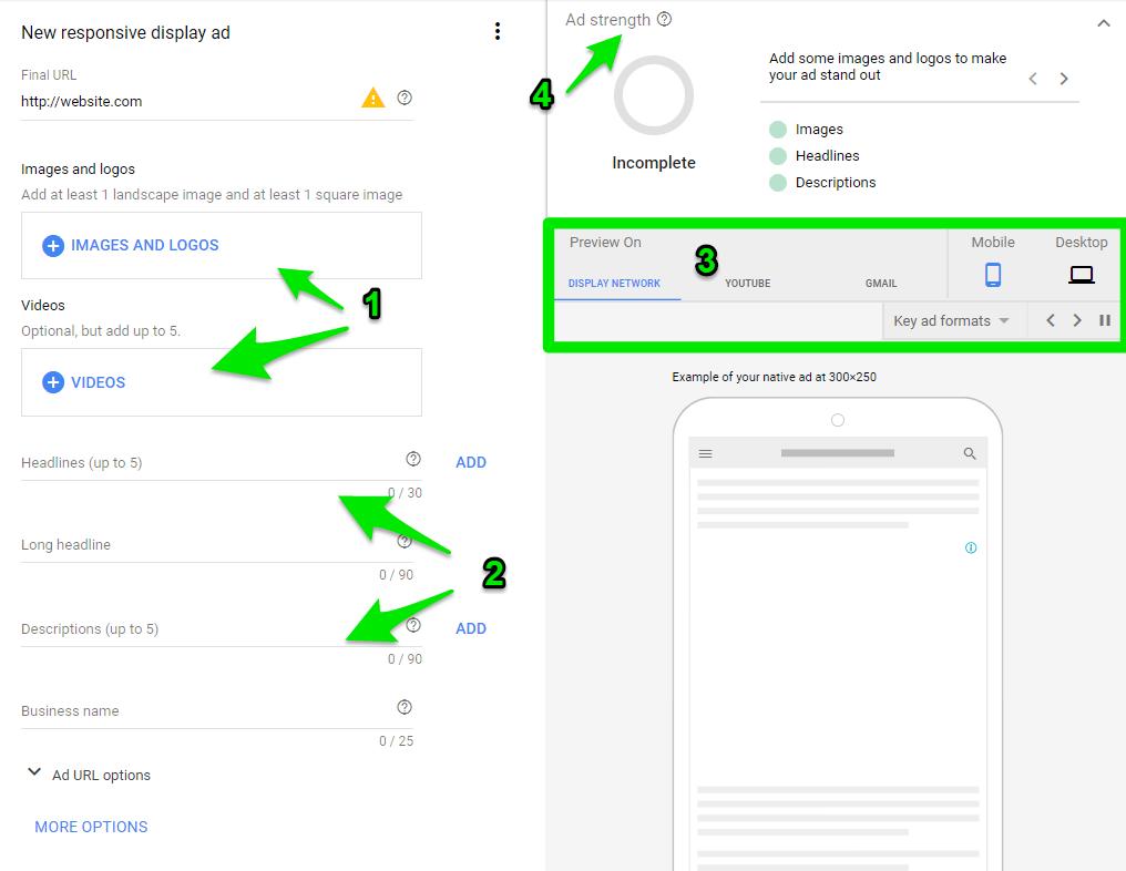 Elementos para crear anuncios responsivos en Google Display.