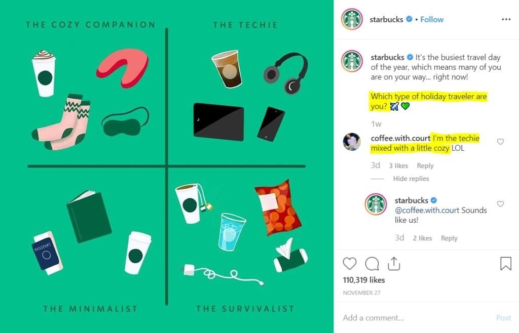 4. Haz preguntas para animar a la audiencia a interactuar. Starbucks.