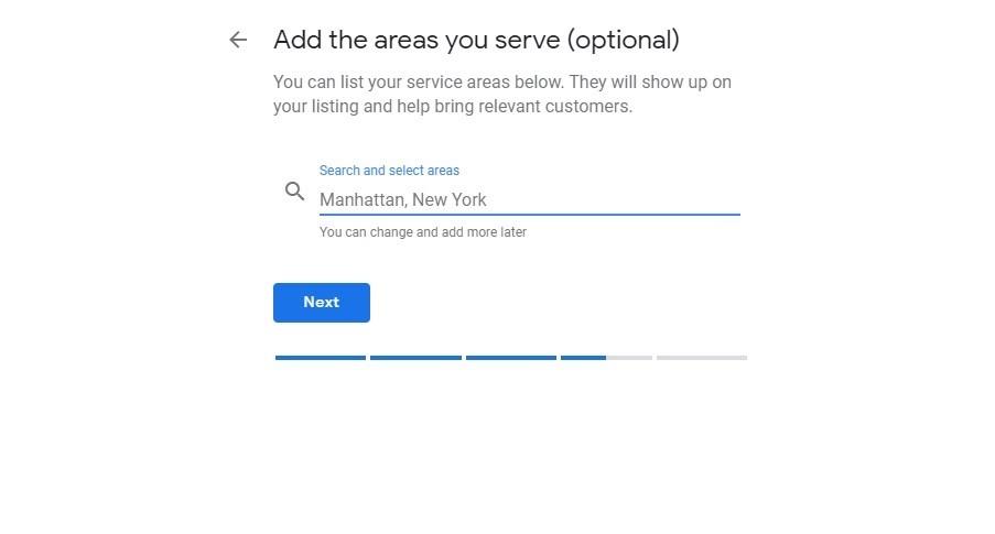 Google My Business. Área de servicio más amplias