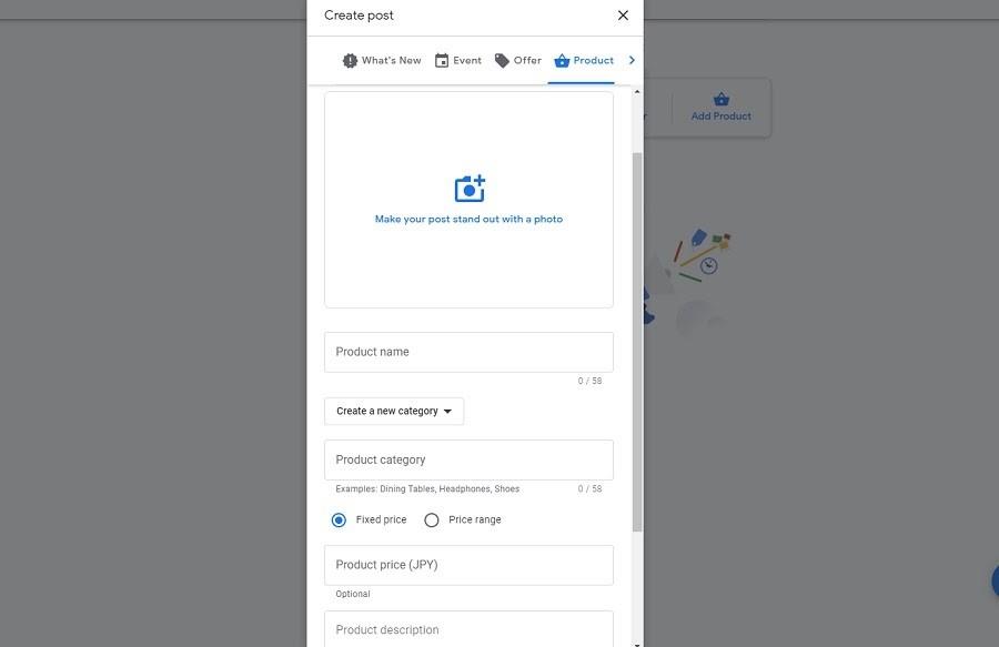 Google My Business. Catálogo de productos