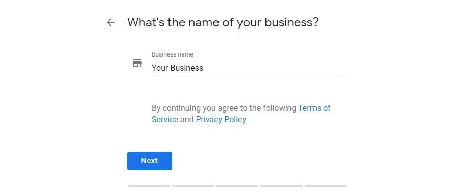 Google My Business. Nombre de tu negocio