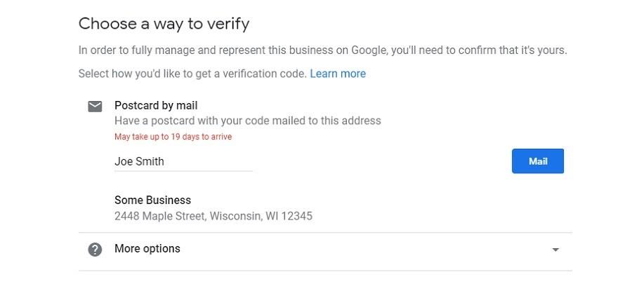 Google My Business. Opciones de verificación
