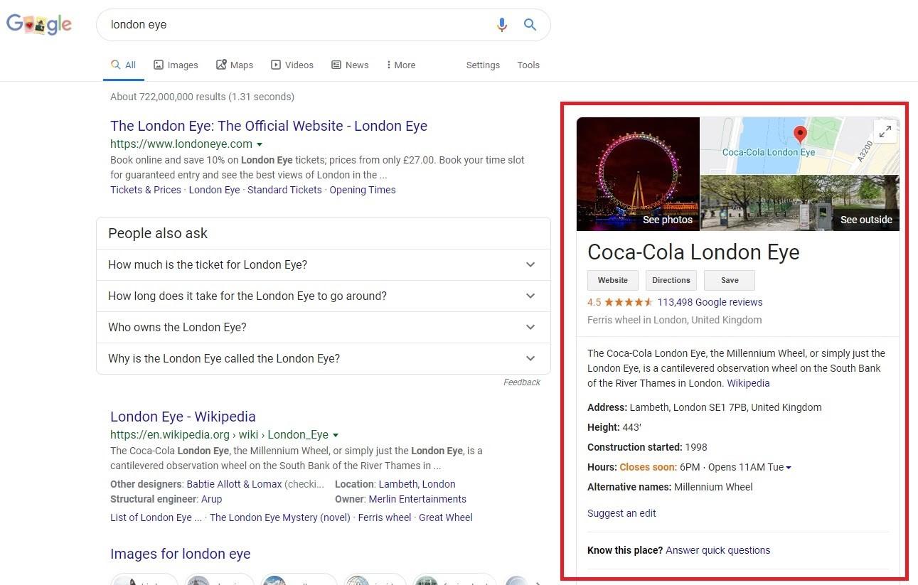Google My Business. Cajas informativas