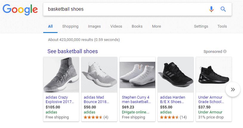 Anuncio de Shopping en Google