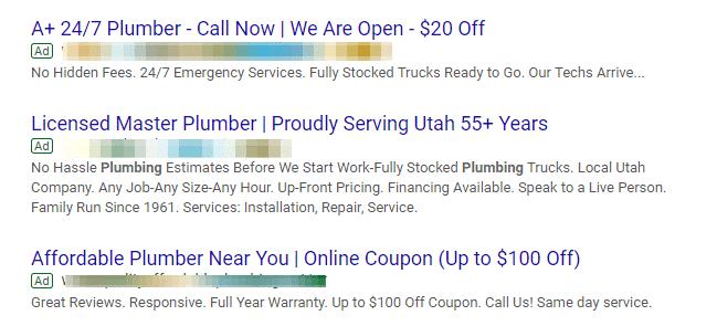 Anuncios en Google Ads sin extensiones