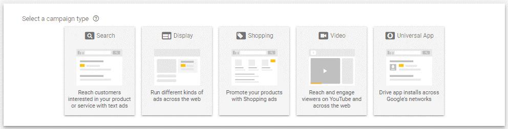Tipo de campañas en Google Ads
