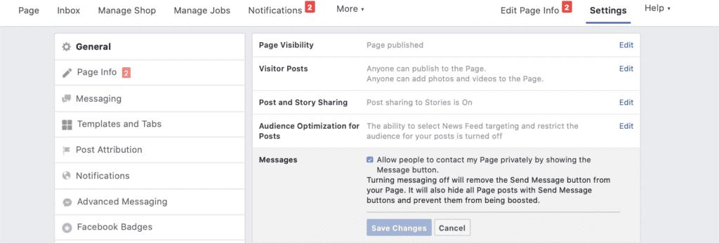 Habilitación de Facebook Messenger para Negocios