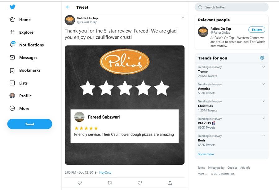 Reseña en Redes Sociales como Twitter