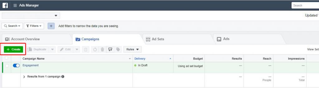 Panel de control del Administrador de anuncios, Ads Manager, Dashboard, Engagement