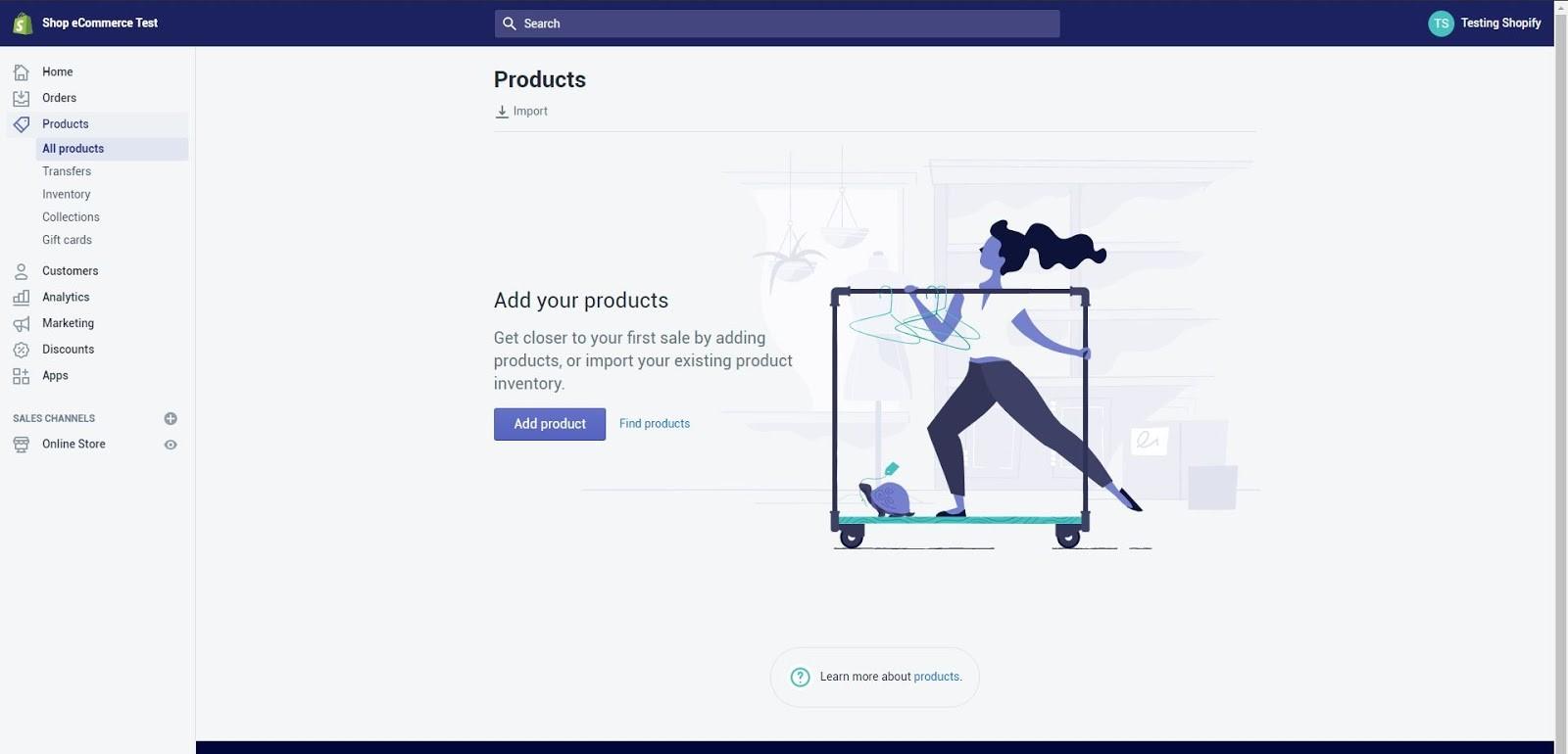 Añadir producto en tienda de Shopify