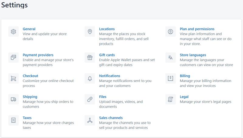 Configurar cuenta de Shopify