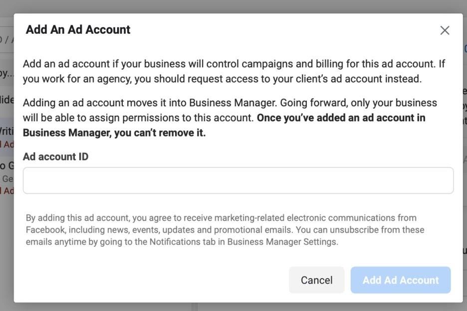 Añadir cuenta en administrador comercial de Facebook
