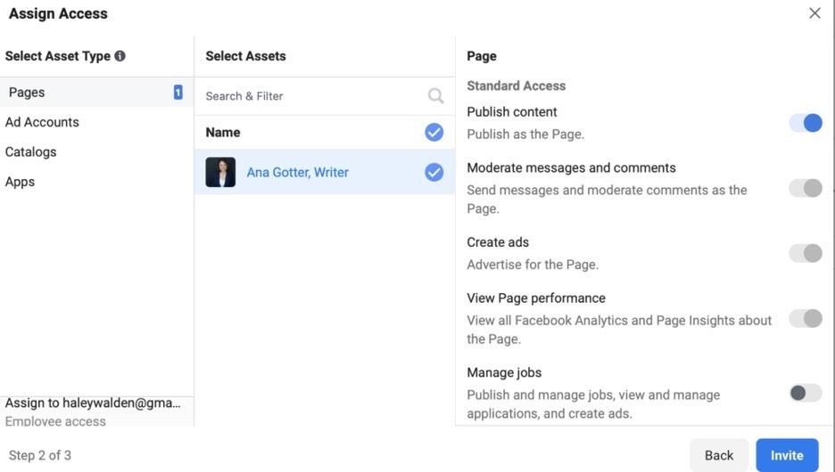 Configurar acceso a los administradores de una página comercial en Facebook
