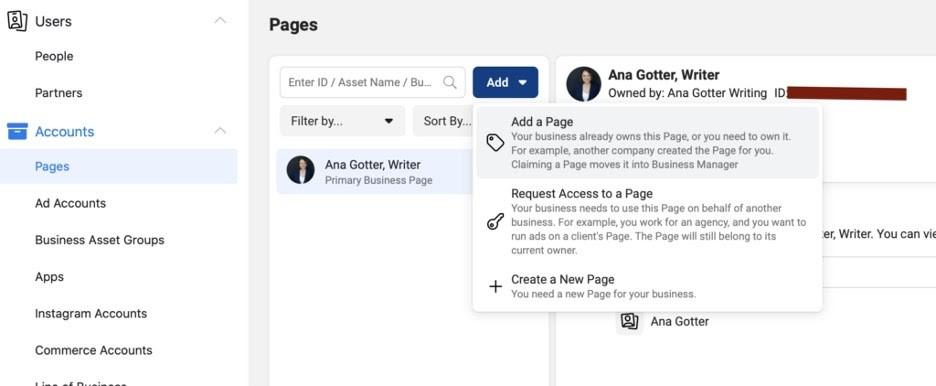 Crear página comercial en administrador comercial de Facebook