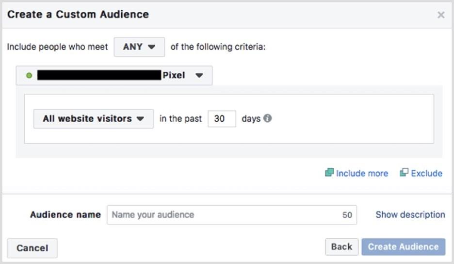 Audiencia personalizada en Facebook basada en visitantes