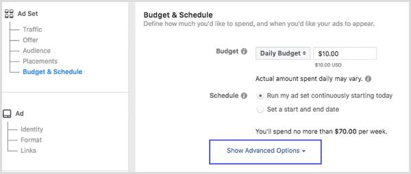 Definir presupuesto de anuncios en Facebook
