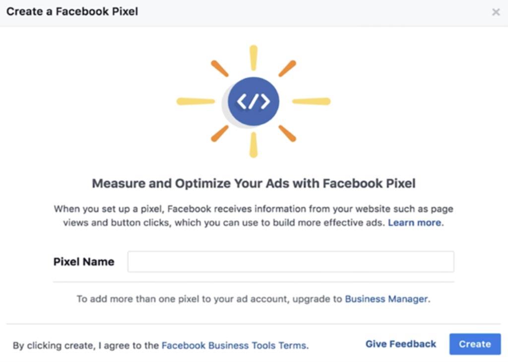 paso final para crear pixel de facebook