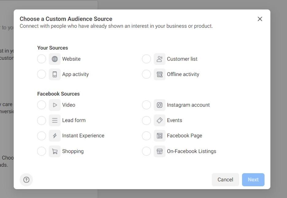 Elegir la fuente de las Audiencias personalizadas en Facebook