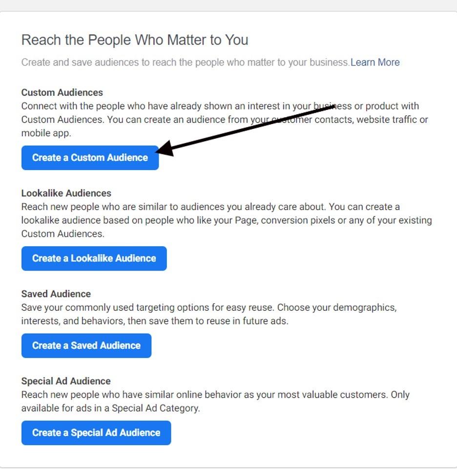 Crear audiencias personalizadas en Facebook paso siguiente
